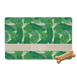 Tropical Leaves 2 Pet Bowl Mat (Personalized)
