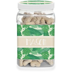 Tropical Leaves 2 Pet Treat Jar (Personalized)