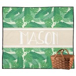 Tropical Leaves #2 Outdoor Picnic Blanket w/ Name or Text
