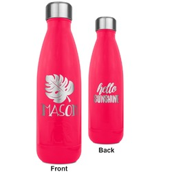 Tropical Leaves 2 RTIC Bottle - 17 oz. Pink - Engraved Front & Back (Personalized)