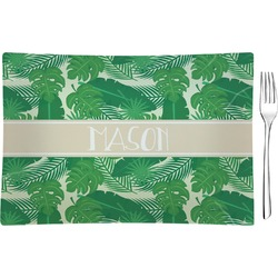 Tropical Leaves 2 Rectangular Glass Appetizer / Dessert Plate - Single or Set (Personalized)