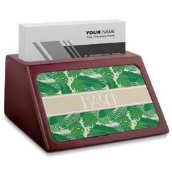 Tropical Leaves 2 Red Mahogany Business Card Holder (Personalized)