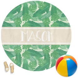 Tropical Leaves 2 Round Beach Towel (Personalized)