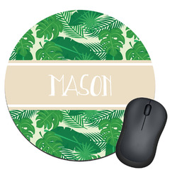 Tropical Leaves 2 Round Mouse Pad (Personalized)