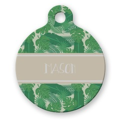 Tropical Leaves 2 Round Pet Tag (Personalized)