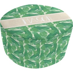 Tropical Leaves 2 Round Pouf Ottoman (Personalized)