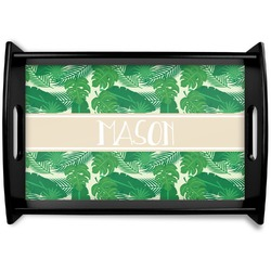 Tropical Leaves 2 Black Wooden Tray (Personalized)