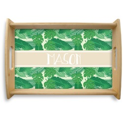 Tropical Leaves 2 Natural Wooden Tray (Personalized)