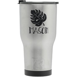 Tropical Leaves 2 RTIC Tumbler - Silver - Engraved Front (Personalized)