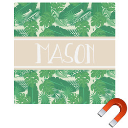 Tropical Leaves 2 Square Car Magnet (Personalized)