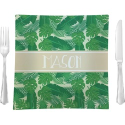 Tropical Leaves 2 Glass Square Lunch / Dinner Plate 9.5