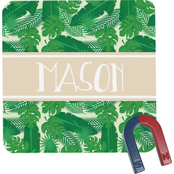 Tropical Leaves 2 Square Fridge Magnet (Personalized)
