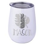 Tropical Leaves 2 Stemless Wine Tumbler - 5 Color Choices - Stainless Steel  (Personalized)