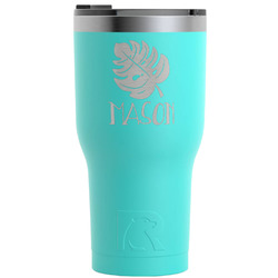 Tropical Leaves 2 RTIC Tumbler - Teal - Engraved Front (Personalized)