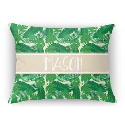 Tropical Leaves #2 Rectangular Throw Pillow Case (Personalized)