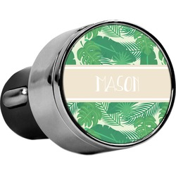 Tropical Leaves #2 USB Car Charger (Personalized)