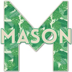 Tropical Leaves 2 Name & Initial Decal - Custom Sized (Personalized)