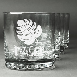 Tropical Leaves #2 Whiskey Glasses (Set of 4) (Personalized)