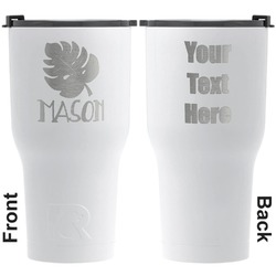 Tropical Leaves 2 RTIC Tumbler - White - Engraved Front & Back (Personalized)