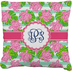 """Preppy Faux-Linen Throw Pillow 16"""" (Personalized)"""