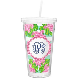 Preppy Double Wall Tumbler with Straw (Personalized)