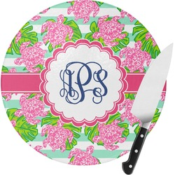 Preppy Round Glass Cutting Board (Personalized)