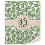 Tropical Leaves Sherpa Throw Blanket (Personalized)