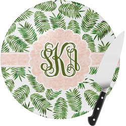 Tropical Leaves Round Glass Cutting Board - Small (Personalized)