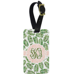 Tropical Leaves Metal Luggage Tag w/ Monogram