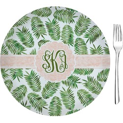 """Tropical Leaves 8"""" Glass Appetizer / Dessert Plates - Single or Set (Personalized)"""