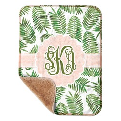 "Tropical Leaves Sherpa Baby Blanket 30"" x 40"" (Personalized)"