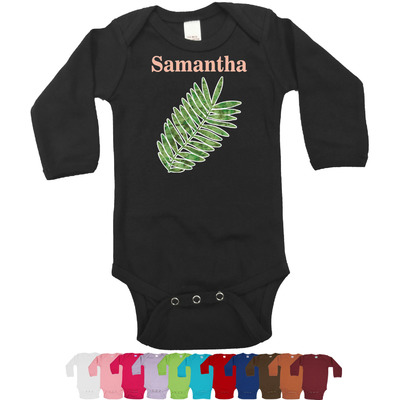 Tropical Leaves Long Sleeves Bodysuit - 12 Colors (Personalized)