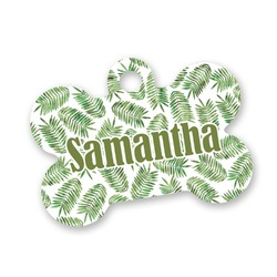 Tropical Leaves Bone Shaped Dog Tag (Personalized)