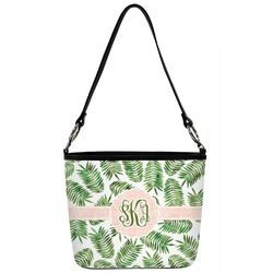 Tropical Leaves Bucket Bag w/ Genuine Leather Trim (Personalized)