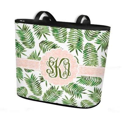 Tropical Leaves Bucket Tote w/ Genuine Leather Trim (Personalized)