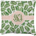 Tropical Leaves Faux-Linen Throw Pillow (Personalized)
