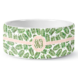 Tropical Leaves Ceramic Dog Bowl (Personalized)