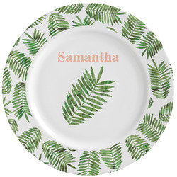 Tropical Leaves Ceramic Dinner Plates (Set of 4) (Personalized)