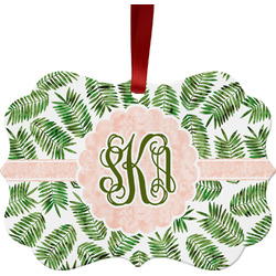 Tropical Leaves Metal Frame Ornament - Double Sided w/ Monogram