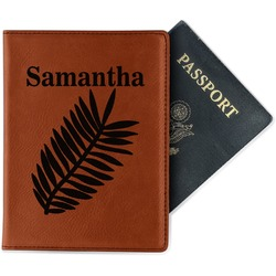 Tropical Leaves Leatherette Passport Holder (Personalized)