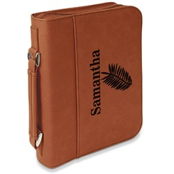 Tropical Leaves Leatherette Bible Cover with Handle & Zipper - Large- Single Sided (Personalized)