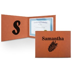 Tropical Leaves Leatherette Certificate Holder (Personalized)
