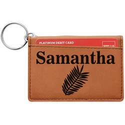 Tropical Leaves Leatherette Keychain ID Holder (Personalized)