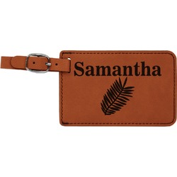 Tropical Leaves Leatherette Luggage Tag (Personalized)