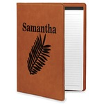 Tropical Leaves Leatherette Portfolio with Notepad (Personalized)