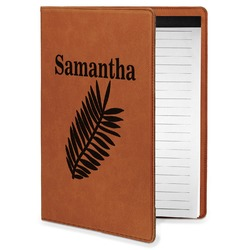 Tropical Leaves Leatherette Portfolio with Notepad - Small - Single Sided (Personalized)