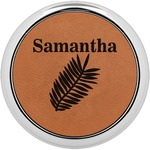 Tropical Leaves Leatherette Round Coaster w/ Silver Edge - Single or Set (Personalized)
