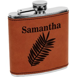 Tropical Leaves Leatherette Wrapped Stainless Steel Flask (Personalized)