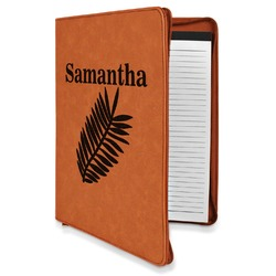 Tropical Leaves Leatherette Zipper Portfolio with Notepad (Personalized)
