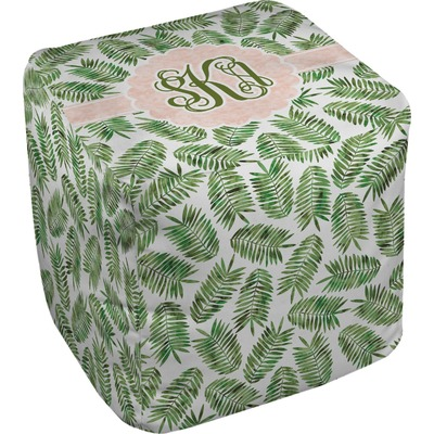 Tropical Leaves Cube Pouf Ottoman (Personalized)
